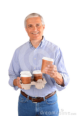 Casual man with tray of coffee cups