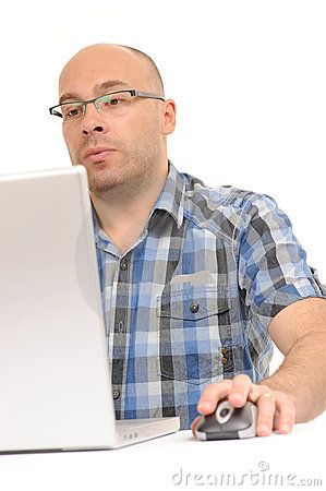 Free Casual Man Using Computer With Mouse Stock Photo - 14693530