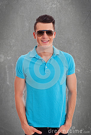Casual man wearing sunglasses and polo shirt