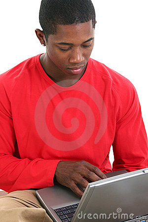 Free Casual Man Working On Laptop Royalty Free Stock Images - 253409