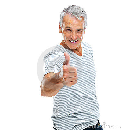 Casual mature guy showing thumbs up sign on white