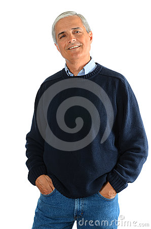 Casual Middle Aged Man in Jeans and Sweater