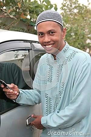 Casual muslim calling