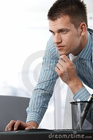 Casual office worker using computer