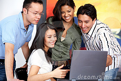 Casual people on a computer