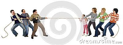 Casual people playing tug of war