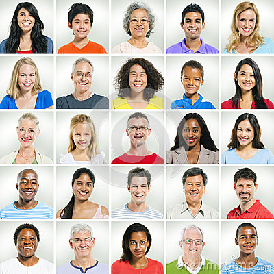 Free Casual Smiling Faces In A Row Stock Photos - 44902153