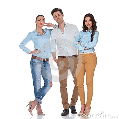 Free Casual Team Of Two Confident Women And An Attractive Man Royalty Free Stock Photo - 116000105