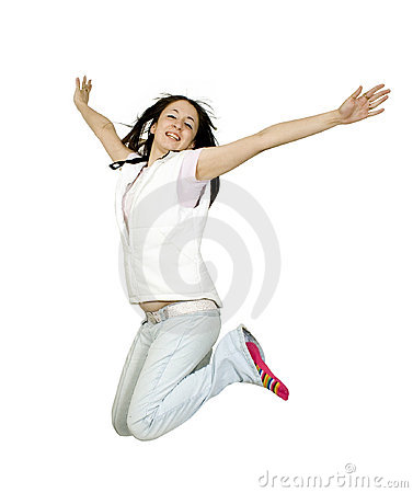 Casual teen jumping of joy