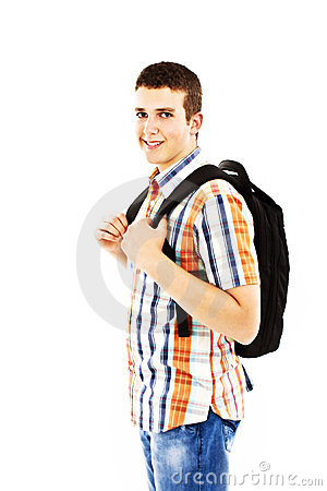 Casual teenager preparing to school standing