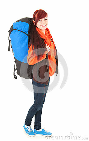 Casual tourist girl with backpack, full length