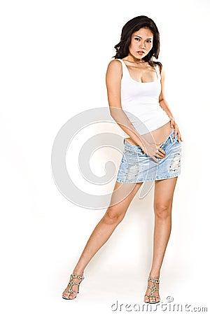 Casual wear asian woman