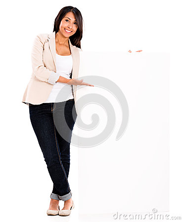 Casual woman with a banner