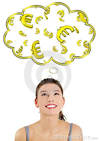 Casual woman daydreaming about euro (ern or win).