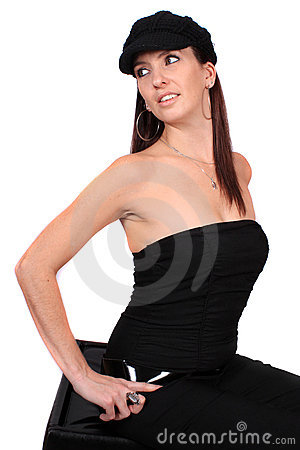 Casual woman with hat