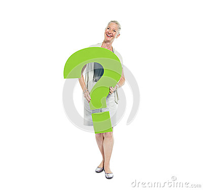 A Casual Woman Holding a Green Question Mark Stock Photo