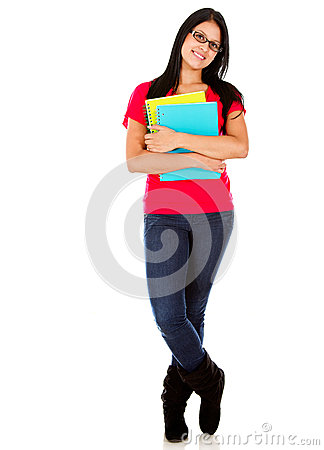 Casual woman with notebooks