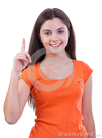 Casual woman pointing to open up