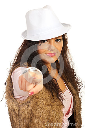 Casual woman pointing to you