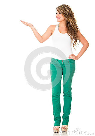 Casual woman presenting something