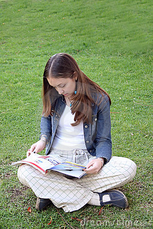 Casual woman reading