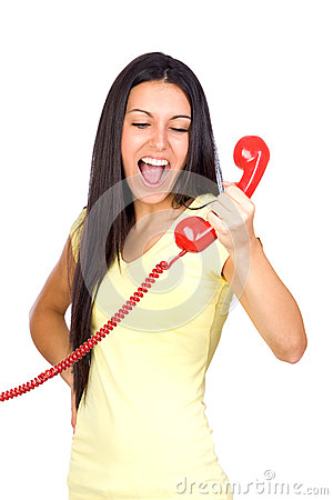 Casual Woman Shouting a Red Phone