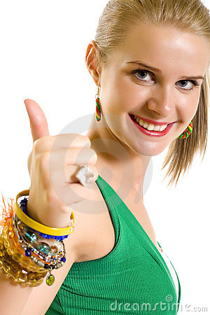 Casual woman smiling with her thumbs up