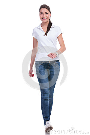 Casual Woman Walks Towards You Stock Images - Image: 31288884