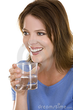 Casual woman with water