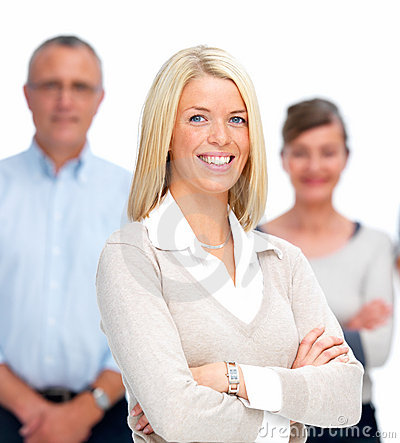 Casual young business woman smiling