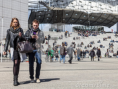 Casual Young Couple in La Defense Editorial Stock Photo