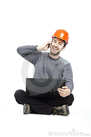 Casual young guy with laptop
