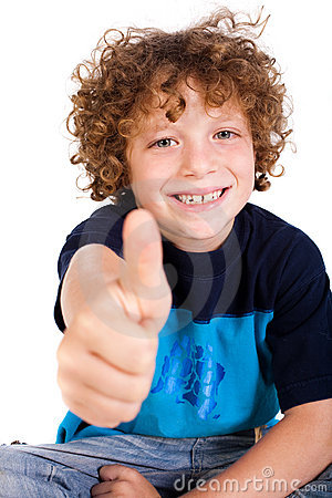 Casual young kid showing thumbs up