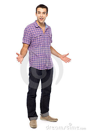 Casual young man gesturing
