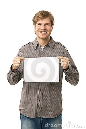 Casual young man holding blank sheet