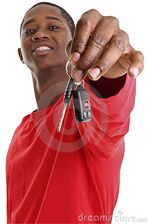 Free Casual Young Man Holding Out Car Key Stock Photos - 198813