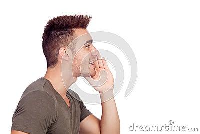 Casual young man shouting