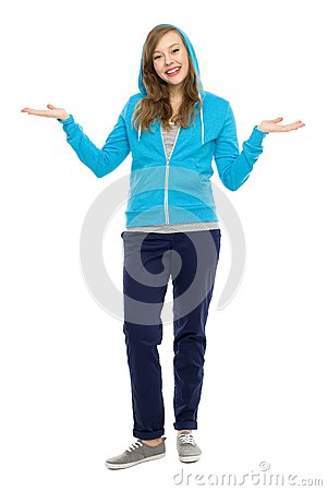 Casual young woman gesturing