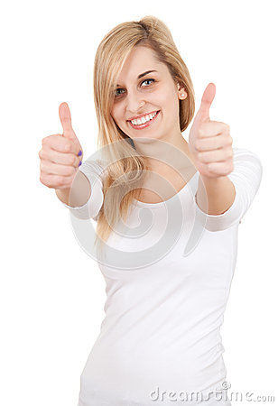 Casual young woman with thumbs up