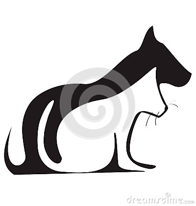 Free Cat And Dog Silhouettes Logo Stock Photography - 25050582