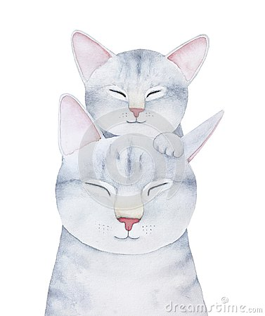 Free Cat And Kitten Family Characters Illustration. Stock Photo - 115484620