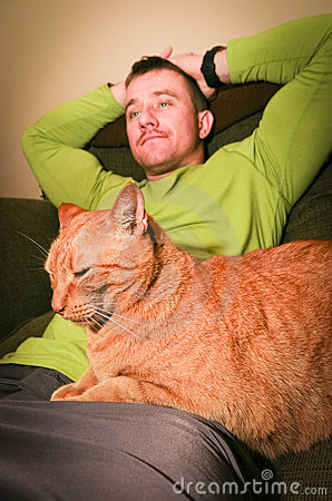Free Cat And Man Relaxing Stock Photography - 23195652