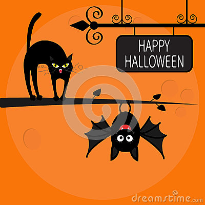 Free Cat Arch Back On Tree Branch. Cute Hanging Bat. Happy Halloween Greeting Card. Wrought Iron Sign Board. Funny Cartoon Character. B Stock Photo - 76440330