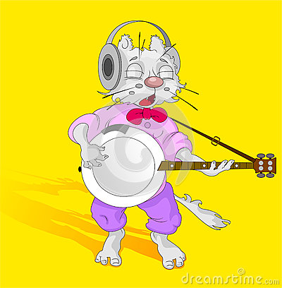 Cat with banjo