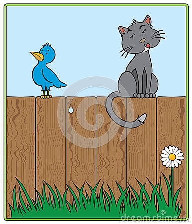 Cat and Bird on fence