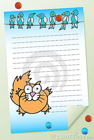 Cat with Birds Notepad