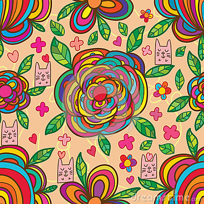 Free Cat Box Flower Colorful Seamless Pattern Royalty Free Stock Photos - 84433118