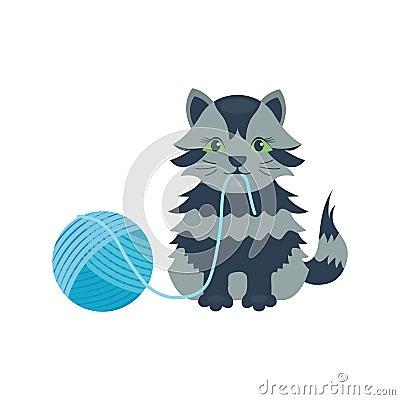 Cat breed cute kitten gray pet portrait fluffy young adorable cartoon animal and pretty fun play feline sitting mammal Vector Illustration
