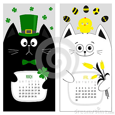 Free Cat Calendar 2017. Cute Funny Cartoon Character Set. March April Spring Month. Royalty Free Stock Images - 80936489