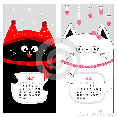 Cat calendar 2017. Cute funny cartoon character set. January February winter month. Vector Illustration